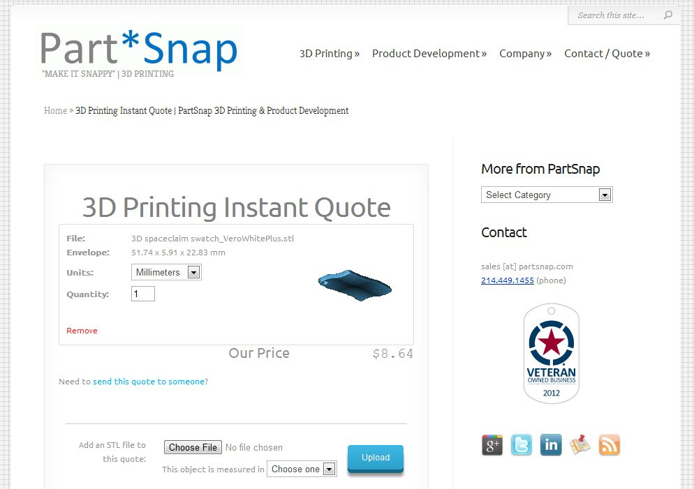 Partsnap To Introduce Online 3d Printing Instant Quote System